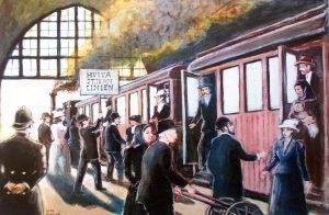 Tåget på stationen i Göteborg